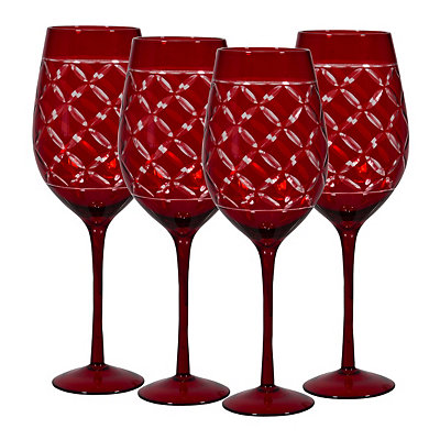 Red Etched Wine Glasses, Set of 4