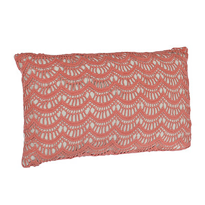 Coral Branwen Lace Accent Pillow