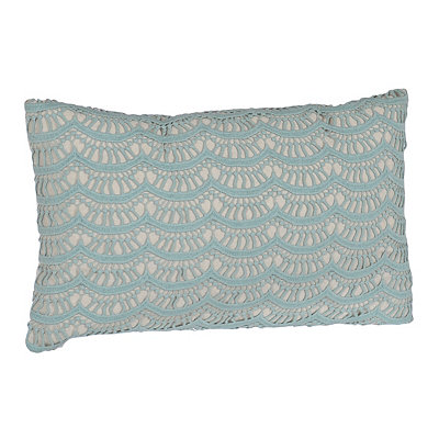 Aqua Branwen Lace Accent Pillow