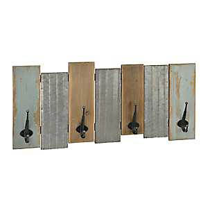 Shabby Chic Wood and Galvanized Metal Wall Hook