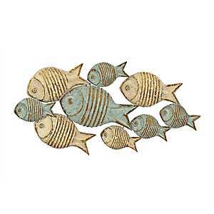 Distressed School of Fish Metal Plaque