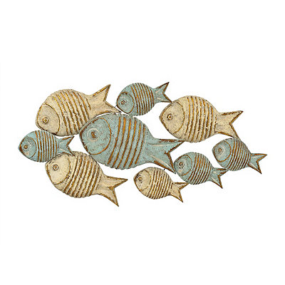 Distressed School of Fish Metal Plaque