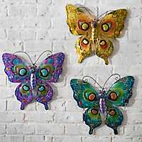 Glass and Metal Butterfly Plaques