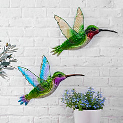 Glass and Metal Hummingbird Plaques