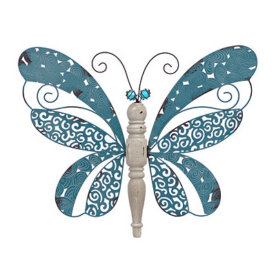 Turquoise Wood and Metal Butterfly Wall Plaque
