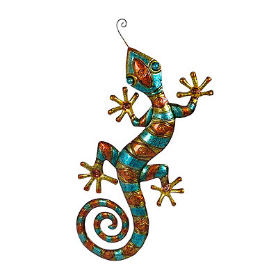 Blue and Orange Gecko Metal Plaque