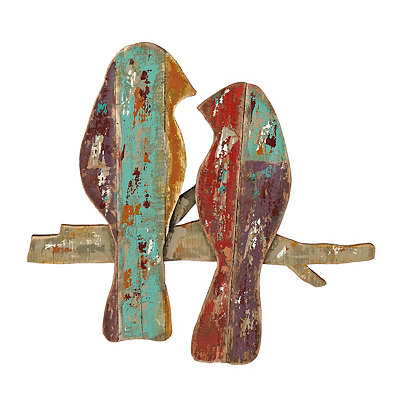 Distressed Birds in Branches Wood Plank Plaque