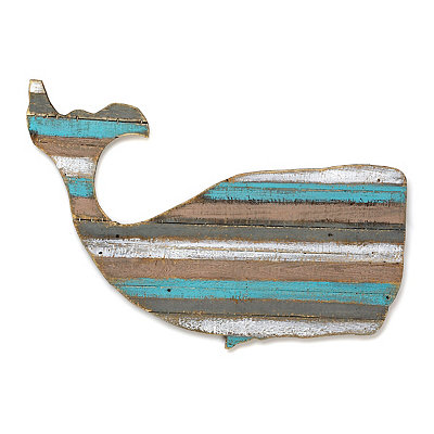 Distressed Whale Wood Plank Plaque