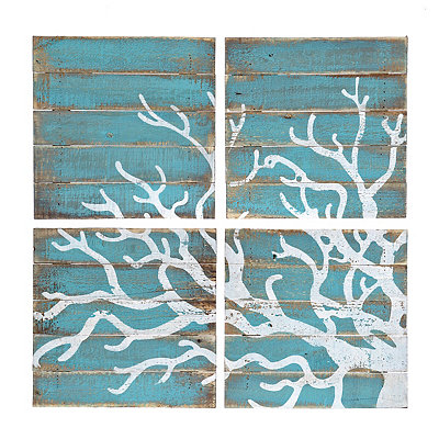 Distressed Coral Wood Plank Plaques, Set of 4