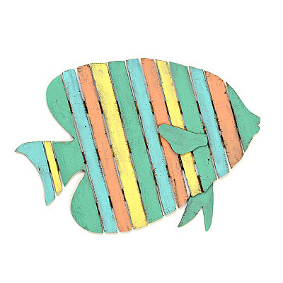 Tropical Fish Wood Plank Plaque
