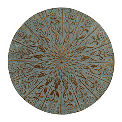 Turquoise Embossed Charger Metal Plaque