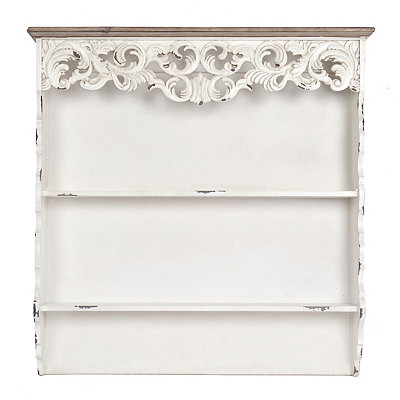 White Baroque Scroll Wooden Shelf