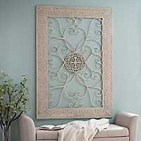 Distressed White Embossed Metal Plaque