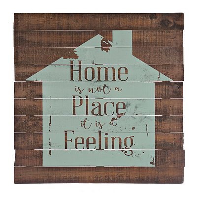 Home is a Feeling Wood Plank Plaque