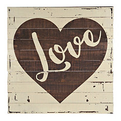 Rustic Love Heart Wood Plank Plaque