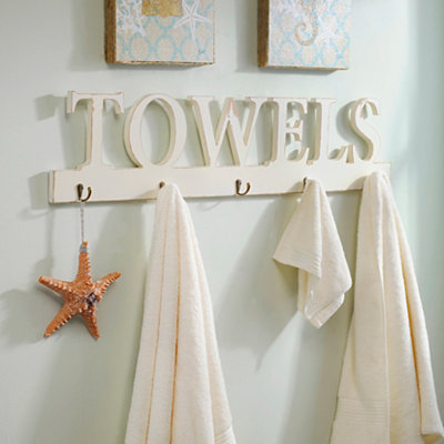 Distressed White Towels Hook