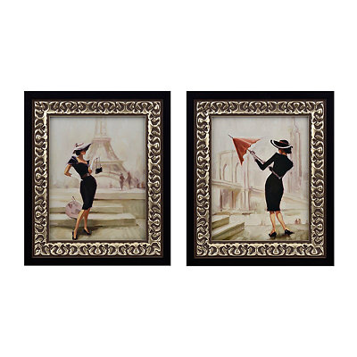 Jeweled High Fashion Framed Art Prints, Set of 2