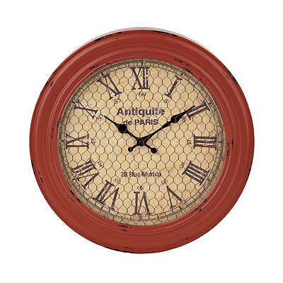 Raelyn Red Chicken Wire Metal Clock