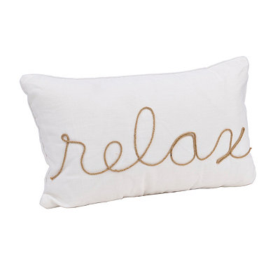 White Relax Rope Accent Pillow