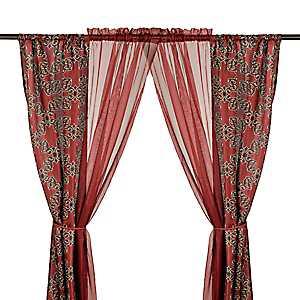 Burgundy Cheshire 6-piece Curtain Panel Set
