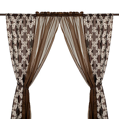 Chocolate Cheshire 6-piece Curtain Panel Set
