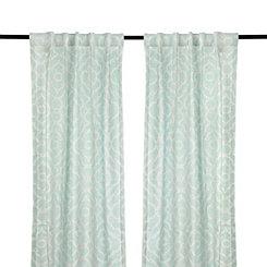 Cannes Aqua Curtain Panel Set, 96 in.