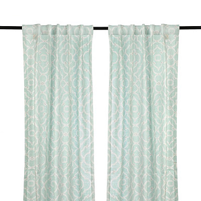 Cannes Aqua Curtain Panel Set, 96 in.