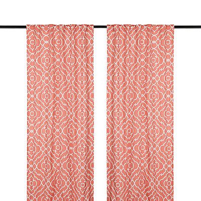 Cannes Coral Curtain Panel Set, 96 in.