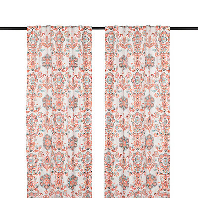 Clare Coral Curtain Panel Set, 96 in.