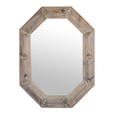 Natural Wooden Octagon Mirror