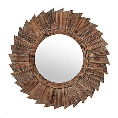 Natural Wood Pinwheel Mirror