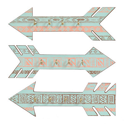 Tribal Arrow Jewelry Wall Hooks, Set of 3