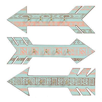 Tribal Arrow Jewelry Wall Hooks, Set of 3