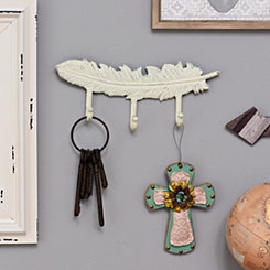 Antique White Feather Wall Hook