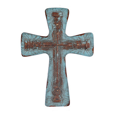 Distressed Turquoise Embossed Metal Cross