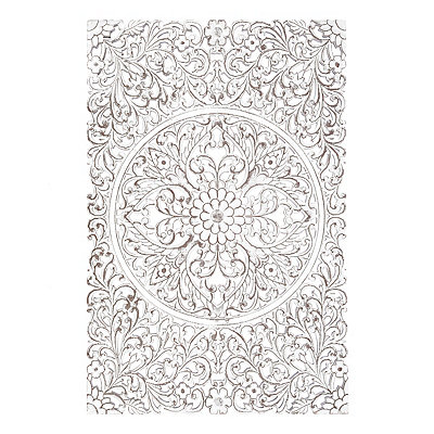 Distressed White Mango Wood Plaque, 31x47 in.