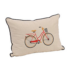 Embroidered Red Bicycle Accent Pillow