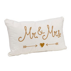 Stitched Mr. and Mrs. Accent Pillow