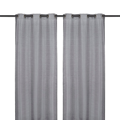 Charcoal Raw Silk Curtain Panel Set, 96 in.
