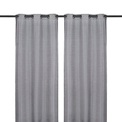 Charcoal Raw Silk Curtain Panel Set, 108 in.
