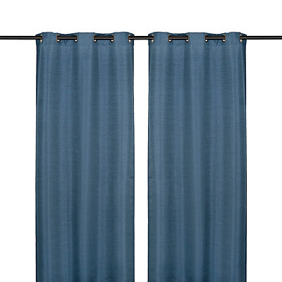 Navy Raw Silk Curtain Panel Set, 96 in.