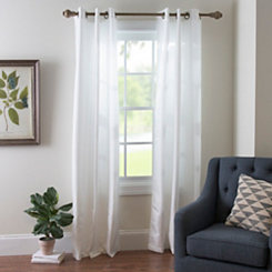 White Raw Silk Curtain Panel Set, 84 in.