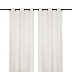 White Raw Silk Curtain Panel Set, 96 in.