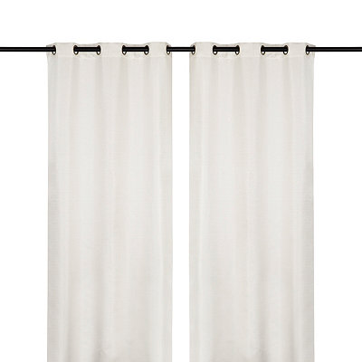 White Raw Silk Curtain Panel Set, 108 in.