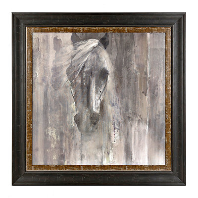 Gray and White Horse Framed Art Print