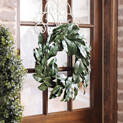 Green Magnolia Leaf Wreath, 24 in.