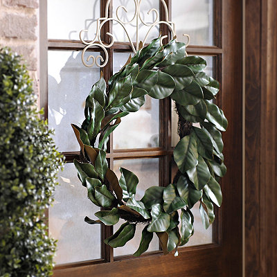 Green Magnolia Leaf Wreath, 30 in.