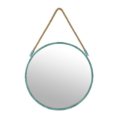 Turquoise Metal Rope Mirror