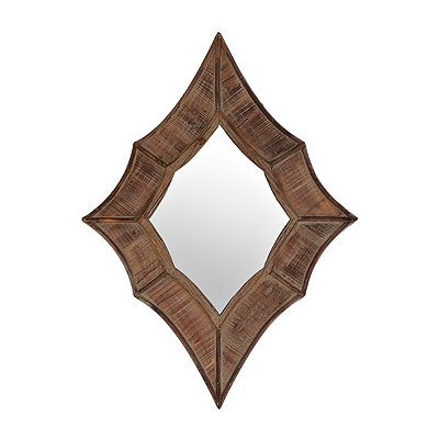 Natural Wood Diamond Mirror