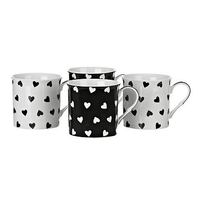 Black and White Hearts Mugs, Set of 4